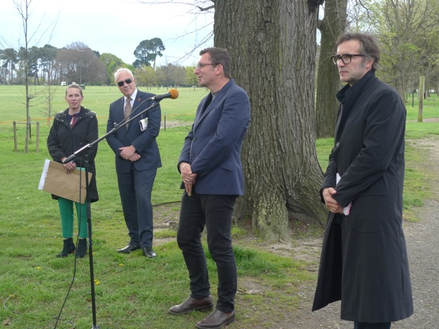 Jane McCormack, Bob Parker Mayor of Christchurch, Blair French and Mischa Kuball in Hagley Park