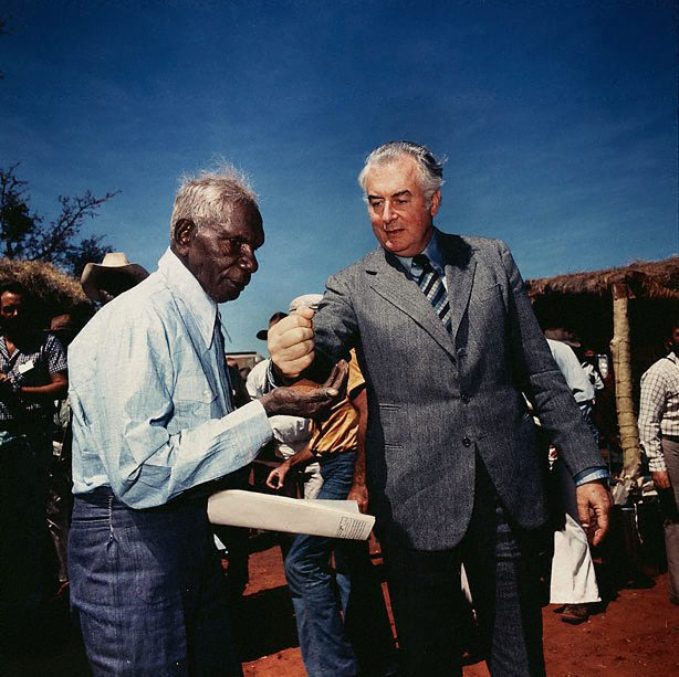 Photograph of Gough Whitlam and Vincent Lingiari by Mervyn Bishop