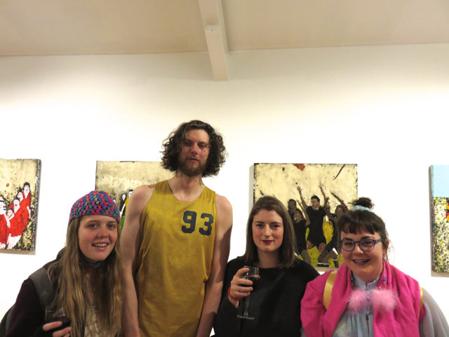 Jack, Alex, Cat and lovely new friend with work by Richard Lewer