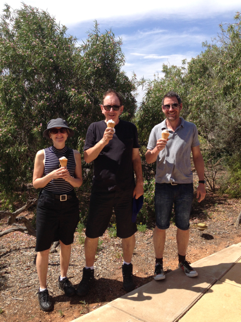 Susie, Dave and Grant sample the local quandong ice-cream