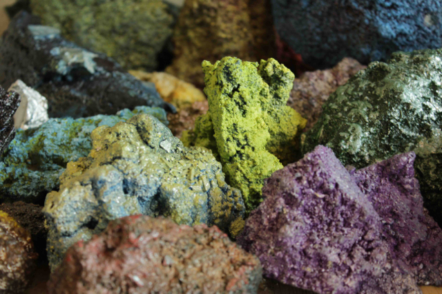 Mineral Formation: Debris, spray paint, oil colors, glass crystals, variable size, 2014