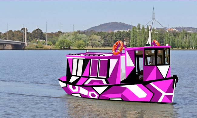 In Plain Sight transforms a boat into a 'Dazzle' camouflage-inspired work of art that will operate on Lake Burley Griffin for 12 months, coinciding with Floriade Festival in September and commencing as part of the Contour 556 Festival 2016 in October 2016.